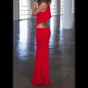 Boulee Cruz Open Back Maxi Dress Red 0 XS